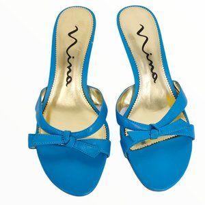 NINA SIZE 6.5 BLUE TURQUOISE KITTEN HEELS SLIP ONS
